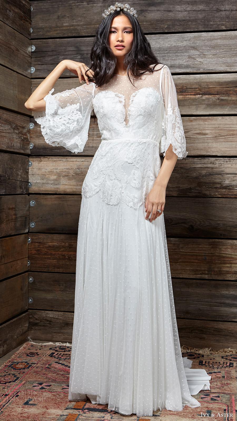ivy aster bridal spring 2017 split sweetheart illusion bateau neck flutter half sleeves aline wedding dress (vivienen) mv