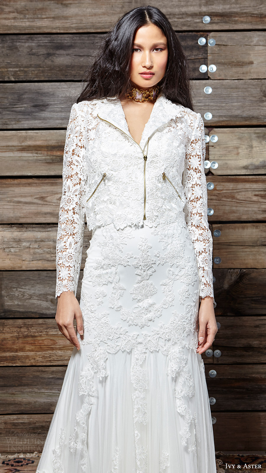 ivy aster bridal spring 2017 strapless sweetheart trumpet lace wedding dress (liberty and wilde) fv jacket