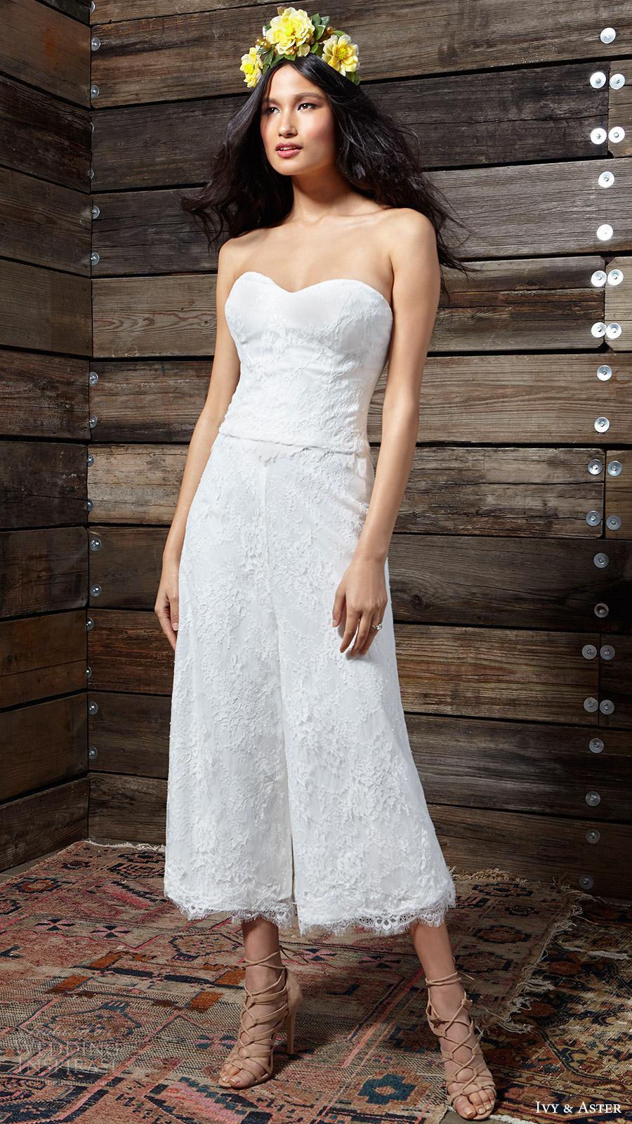 ivy aster bridal spring 2017 strapless top laurel florence culotte pants
