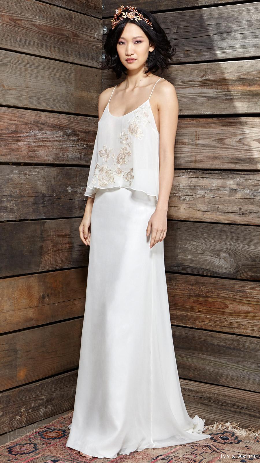 ivy aster bridal spring 2017 two piece wedding dress hazel top georgia skirt