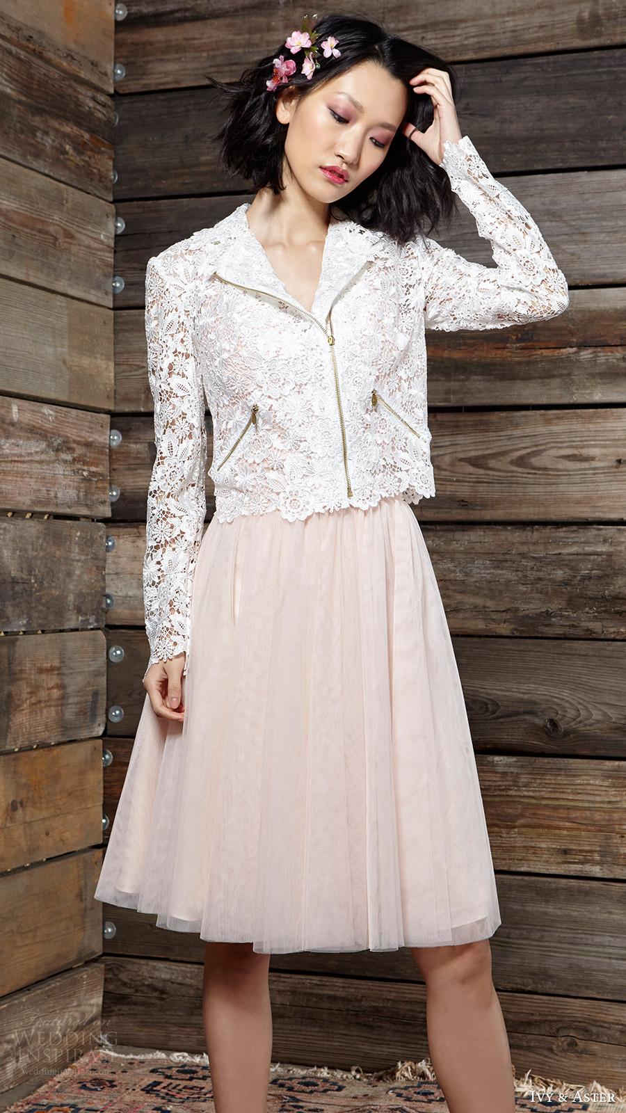 ivy aster bridal spring 2017 wilde lace jacket harper short skirt