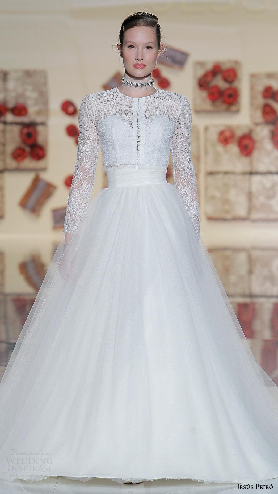 jesus peiro bridal 2017 long sleeves jewel neck button top aline skirt two piece wedidng dress (03) mv