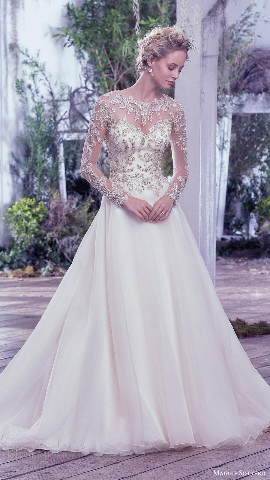 maggie sottero bridal fall 2016 illusion long sleeves sweetheart jewel neck ball gown wedding dress (lorenza) mv romantic