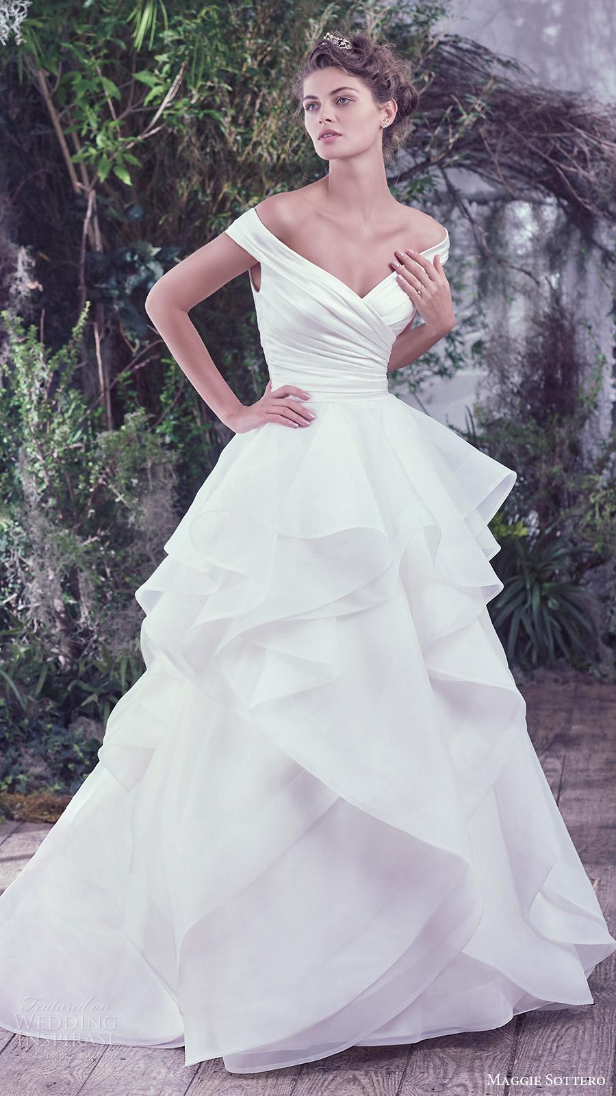 maggie sottero bridal fall 2016 off shoulder vneck ruched surplice bodice ball gown wedding dress (zulani) mv