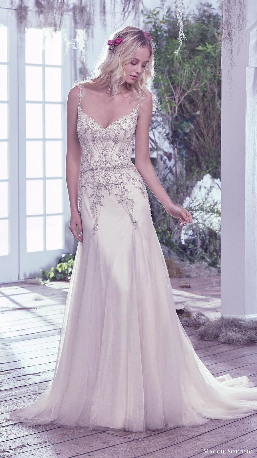 maggie sottero bridal fall 2016 sleeveless beaded straps sweetheart aline wedding dress (andraea) mv