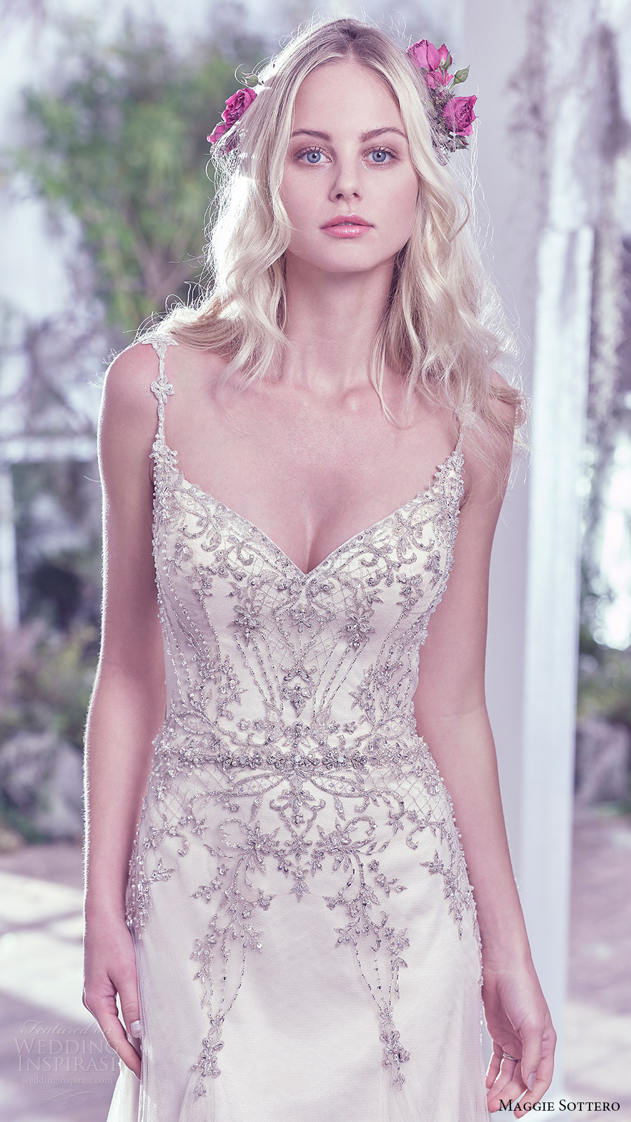 maggie sottero bridal fall 2016 sleeveless beaded straps sweetheart aline wedding dress (andraea) zv