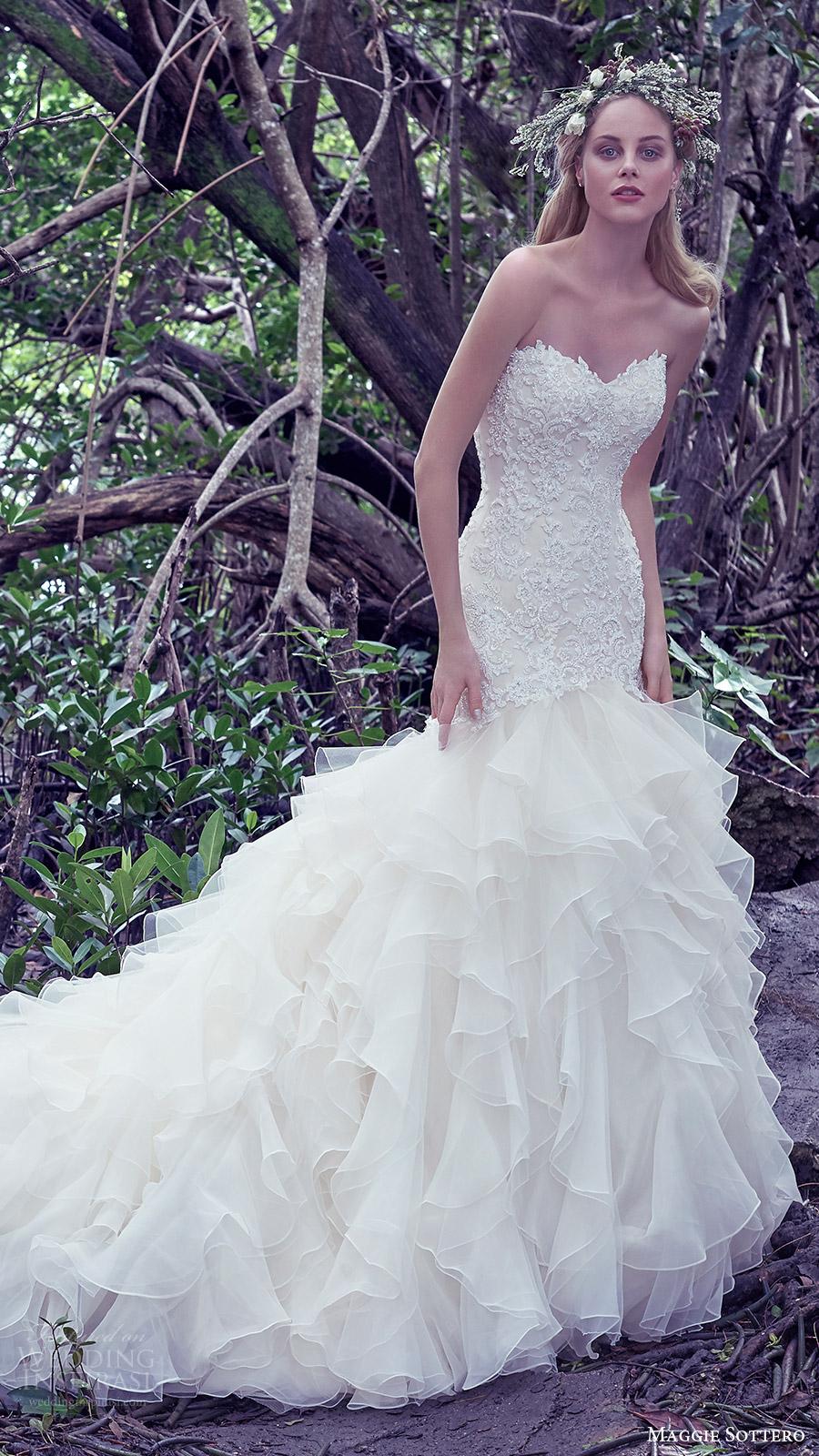 maggie sottero bridal fall 2016 strapless sweetheart mermaid wedding dress (tawny) mv ruffle skirt