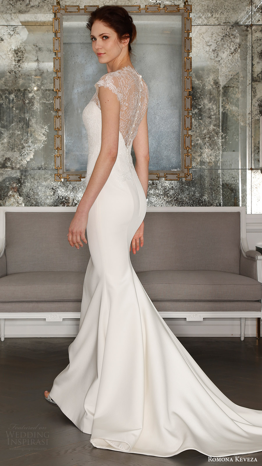 romona keveza bridal spring 2017 cap sleeves sweetheart illusion high neck sheath wedding dress (rk7404) bv sheer back train