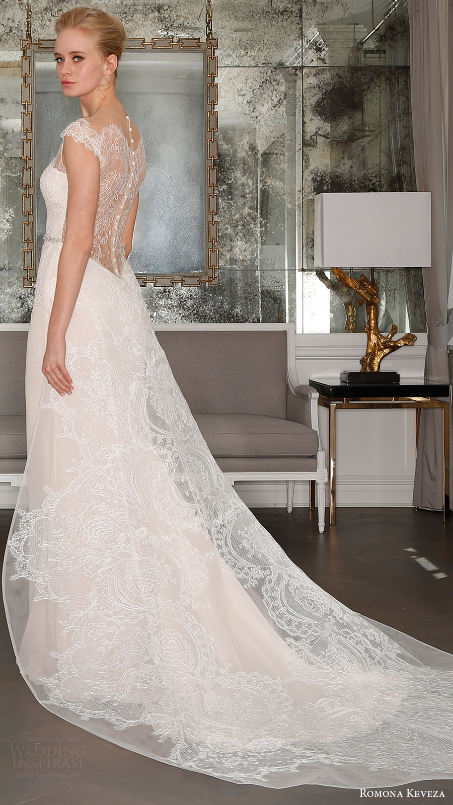 romona keveza bridal spring 2017 illusion cap sleeves sweetheart deep vneck sheath wedding dress (rk7405) bv sheer back detachable train
