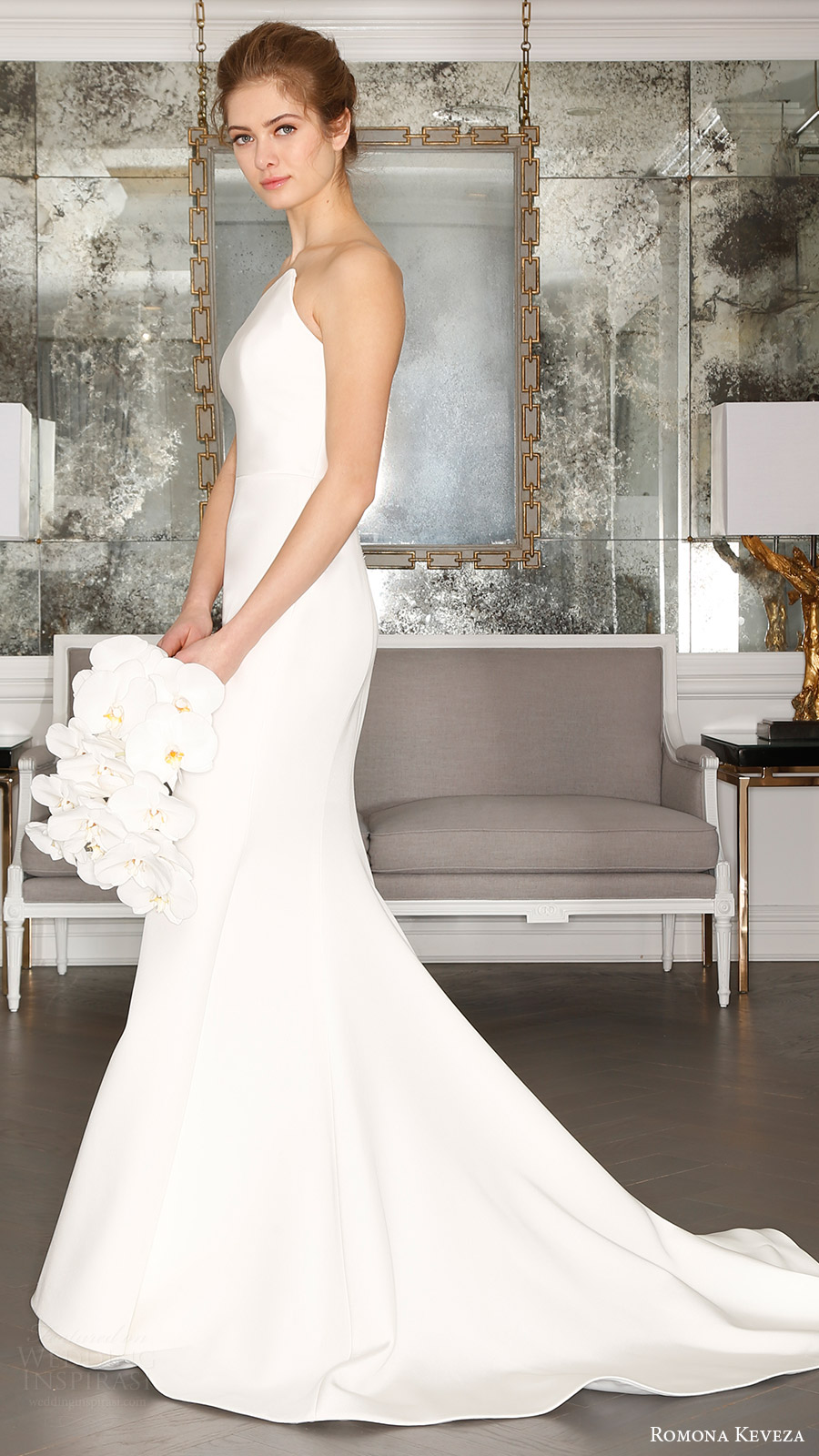 romona keveza bridal spring 2017 strapless asymmetric neck trumpet wedding dress (rk7403) sv train