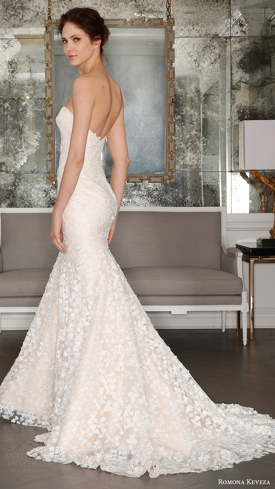 romona keveza bridal spring 2017 strapless sweetheart trumpet wedding dress (rk7408) bv train