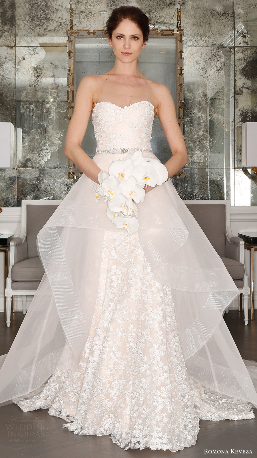 romona keveza bridal spring 2017 strapless sweetheart trumpet wedding dress (rk7408) mv optional sheer aline overskirt