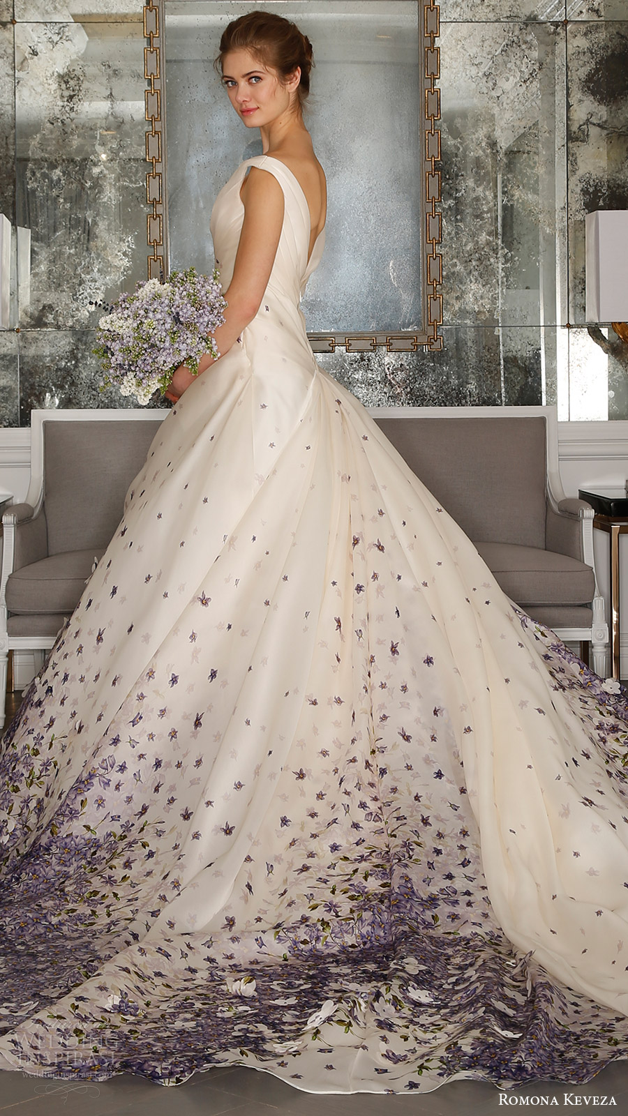 romona keveza bridal spring 2017 strapless sweetheart trumpet wedding dress (rk7408) off shoulder vneck ball gown wedding dress (rk7409) bv violet color print vback train