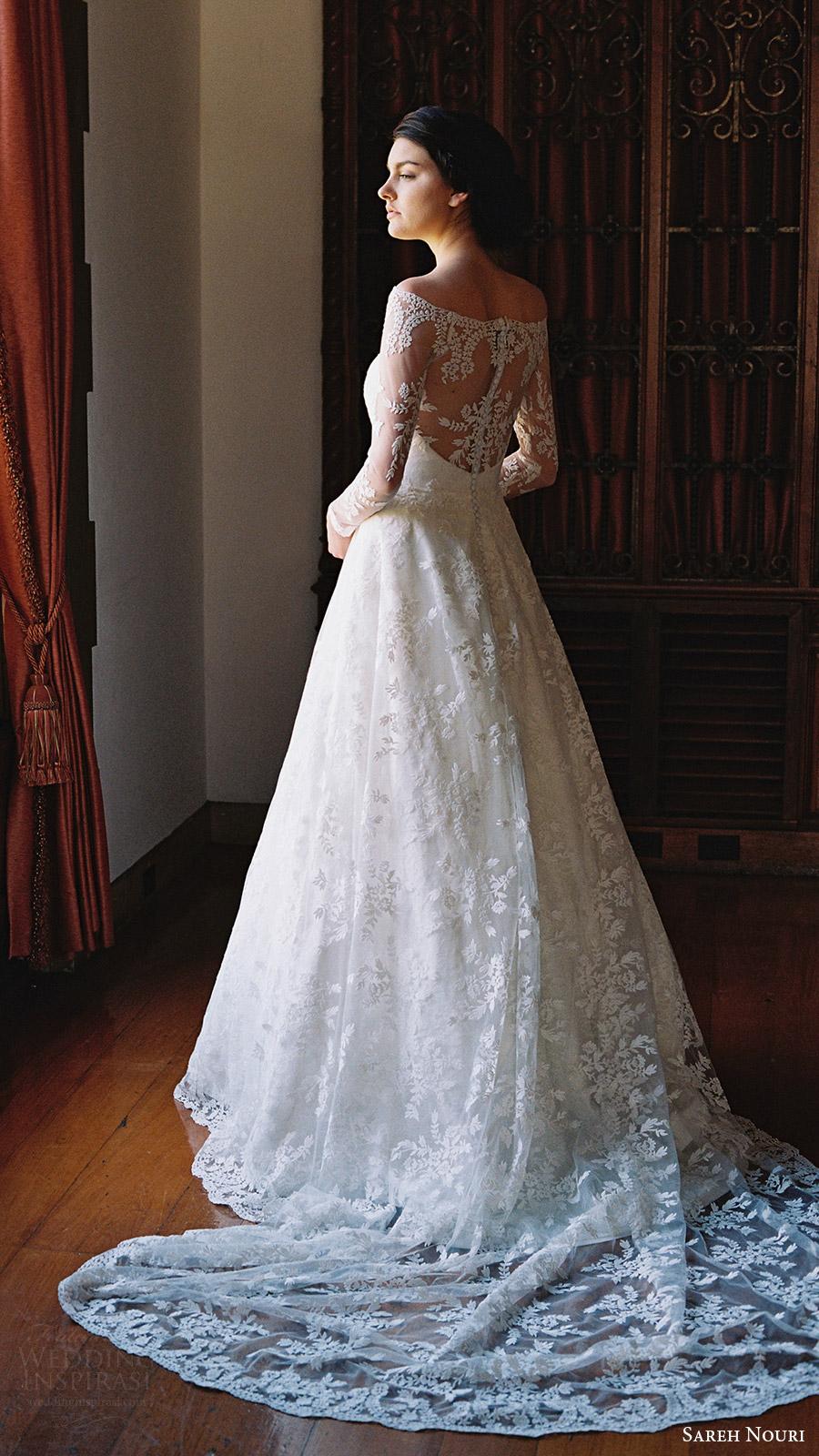 sareh nouri bridal spring 2017 illusion off shoulder long sleeves aline wedding dress (lily of the valley) bv illusion back train