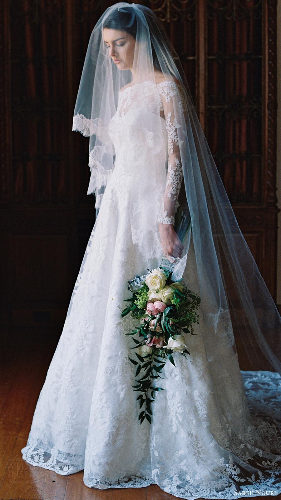 sareh nouri bridal spring 2017 illusion off shoulder long sleeves aline wedding dress (lily of the valley) mv train