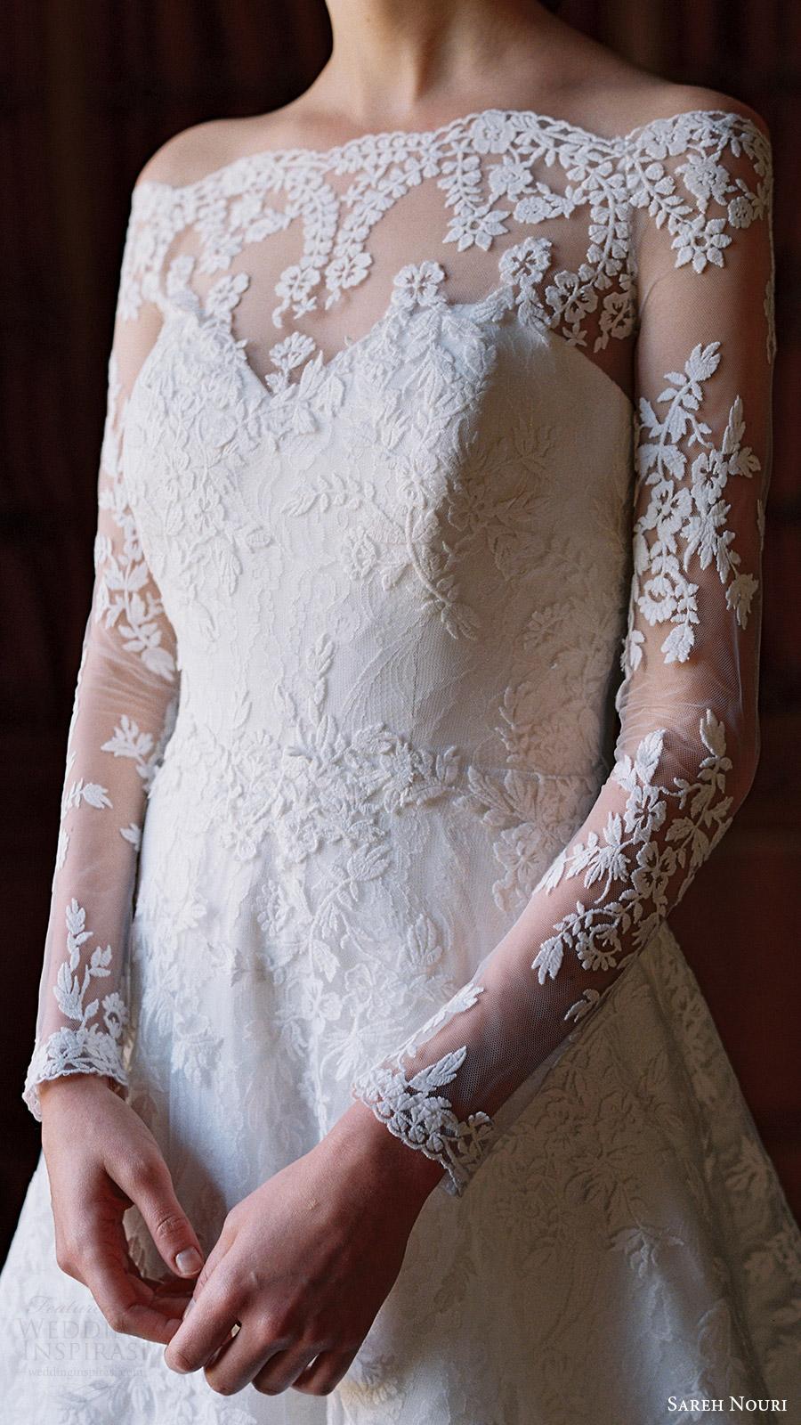 sareh nouri bridal spring 2017 illusion off shoulder long sleeves aline wedding dress (lily of the valley) zfv illusion back train