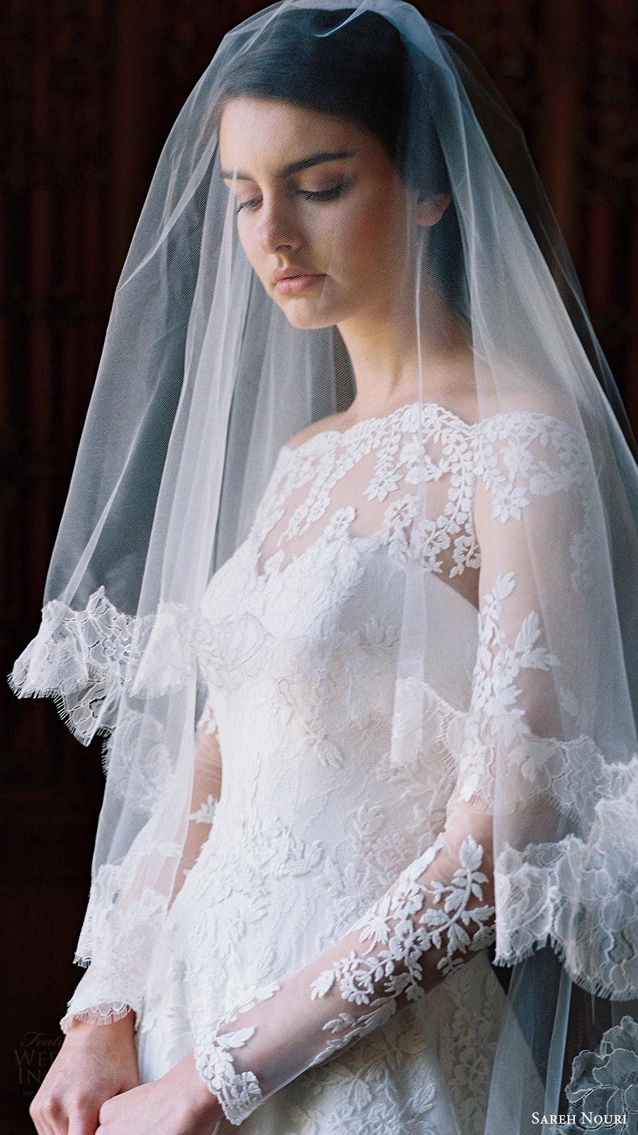 sareh nouri bridal spring 2017 illusion off shoulder long sleeves aline wedding dress (lily of the valley) zfv veil bride