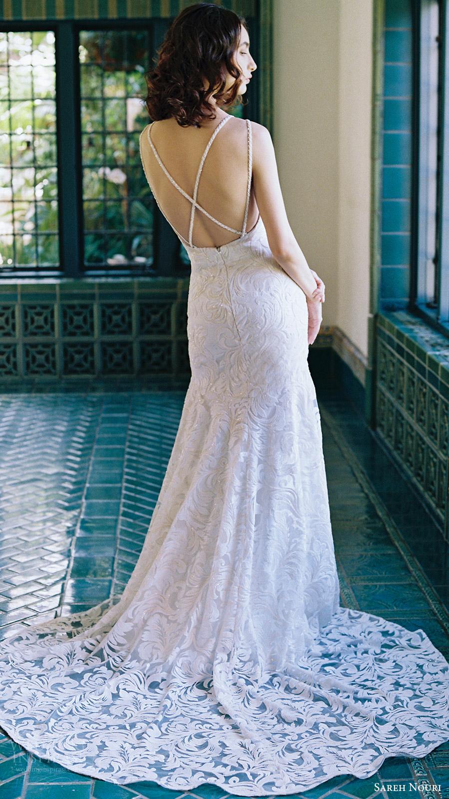 sareh nouri bridal spring 2017 sleeveless double straps sweetheart mermaid lace wedding dress (lotus) bv train