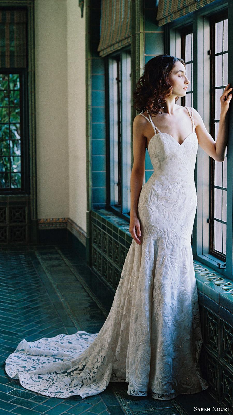 sareh nouri bridal spring 2017 sleeveless double straps sweetheart mermaid lace wedding dress (lotus) mv train
