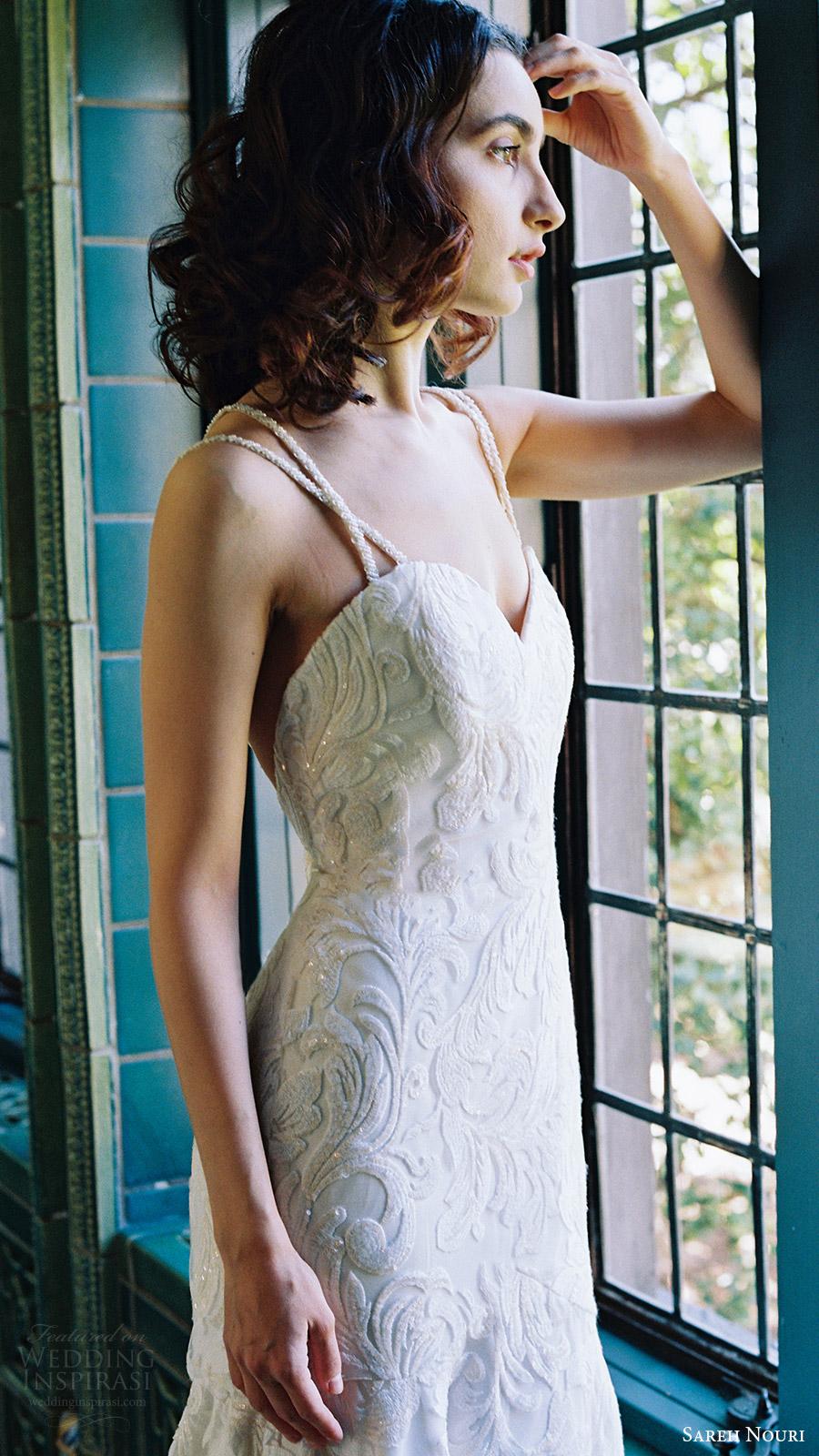 sareh nouri bridal spring 2017 sleeveless double straps sweetheart mermaid lace wedding dress (lotus) zfv bodice