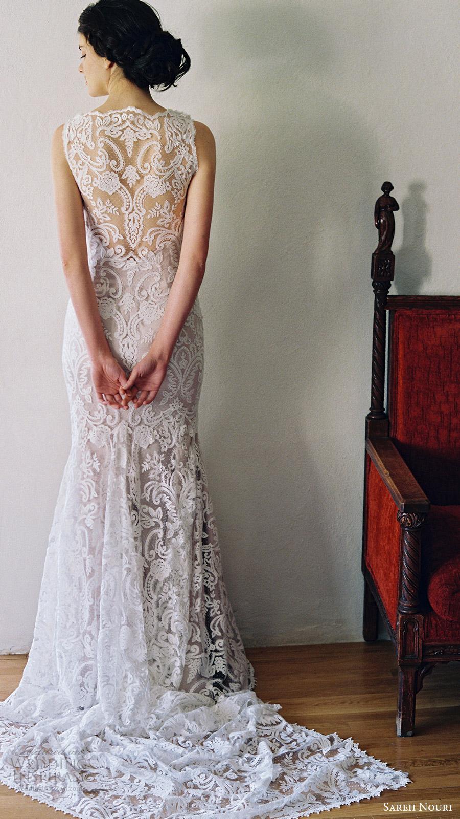 sareh nouri bridal spring 2017 sleeveless jewel neck lace trumpet wedding dress (jonquil) bv illusion back point train