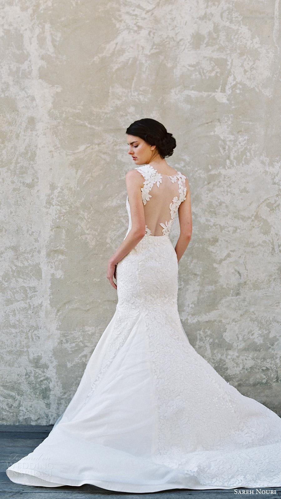 sareh nouri bridal spring 2017 sleeveless sweetheart illusion jewel mermaid wedding dress (magnolia) bv illusion back train