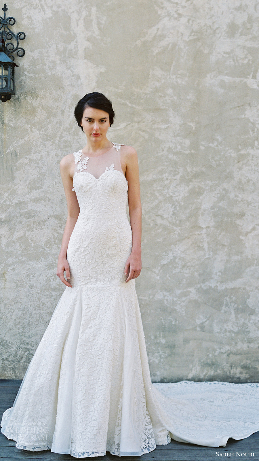 sareh nouri bridal spring 2017 sleeveless sweetheart illusion jewel mermaid wedding dress (magnolia) mv train