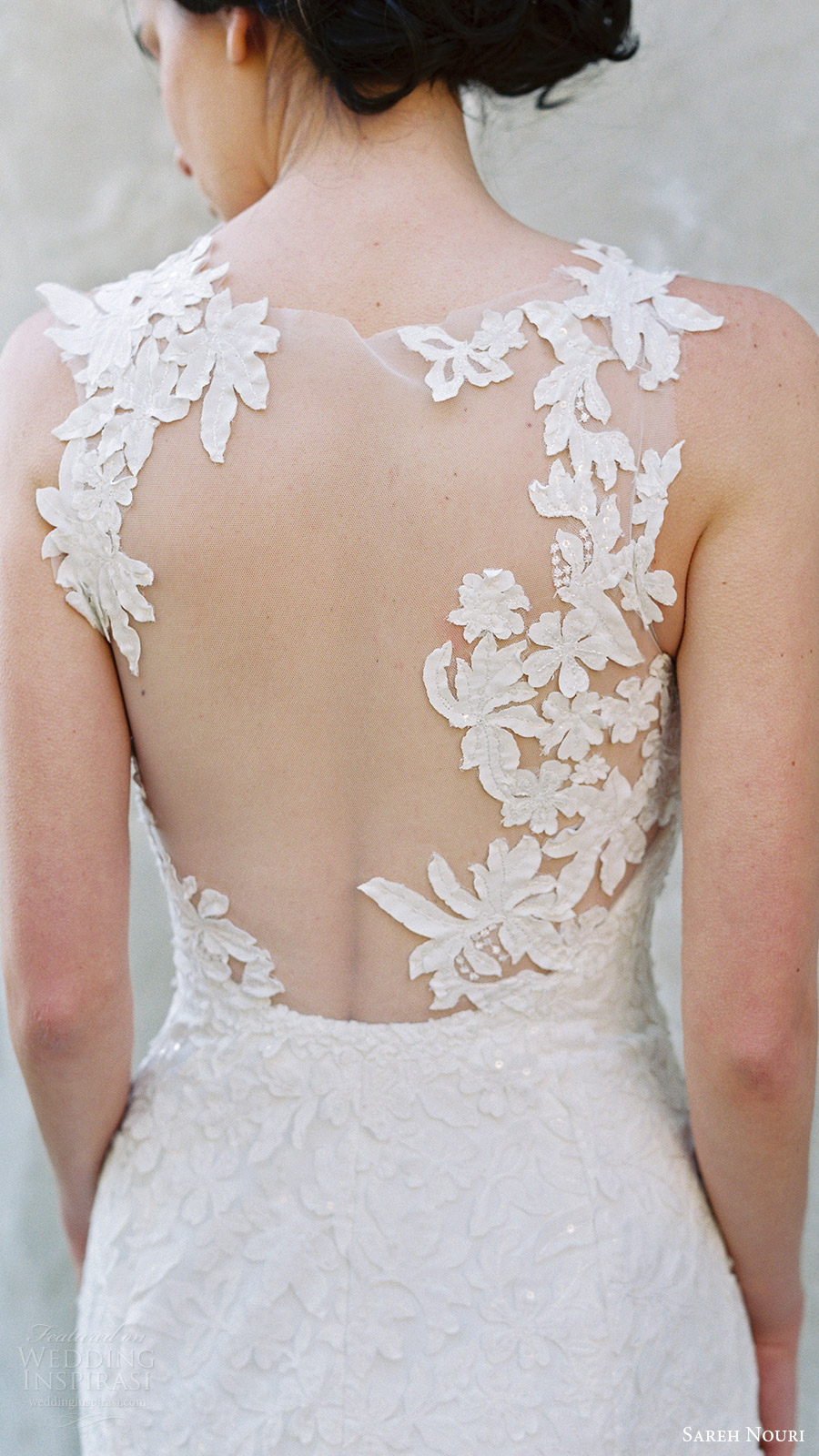 sareh nouri bridal spring 2017 sleeveless sweetheart illusion jewel mermaid wedding dress (magnolia) zbv illusion back train