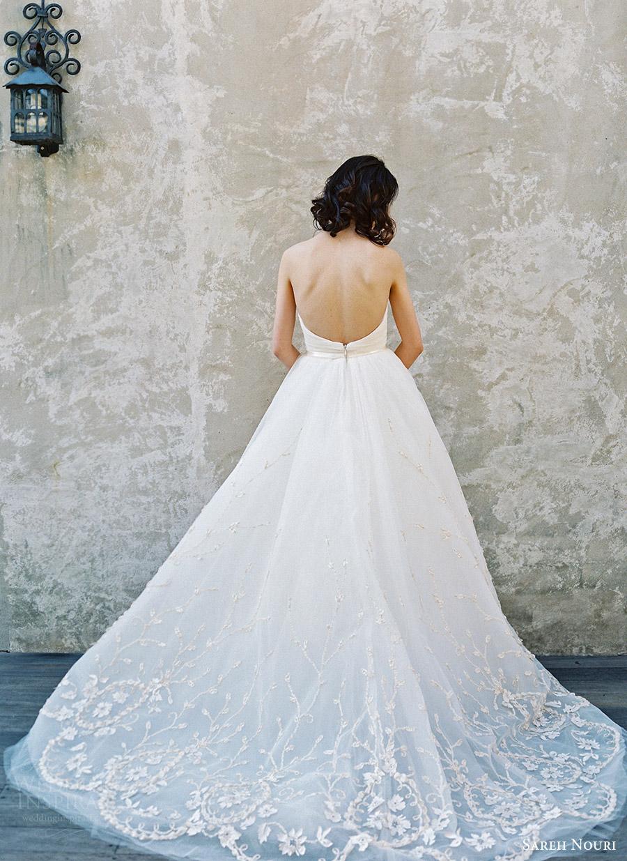 sareh nouri bridal spring 2017 strapless straightacross ball gown wedding dress (ivy) bv train