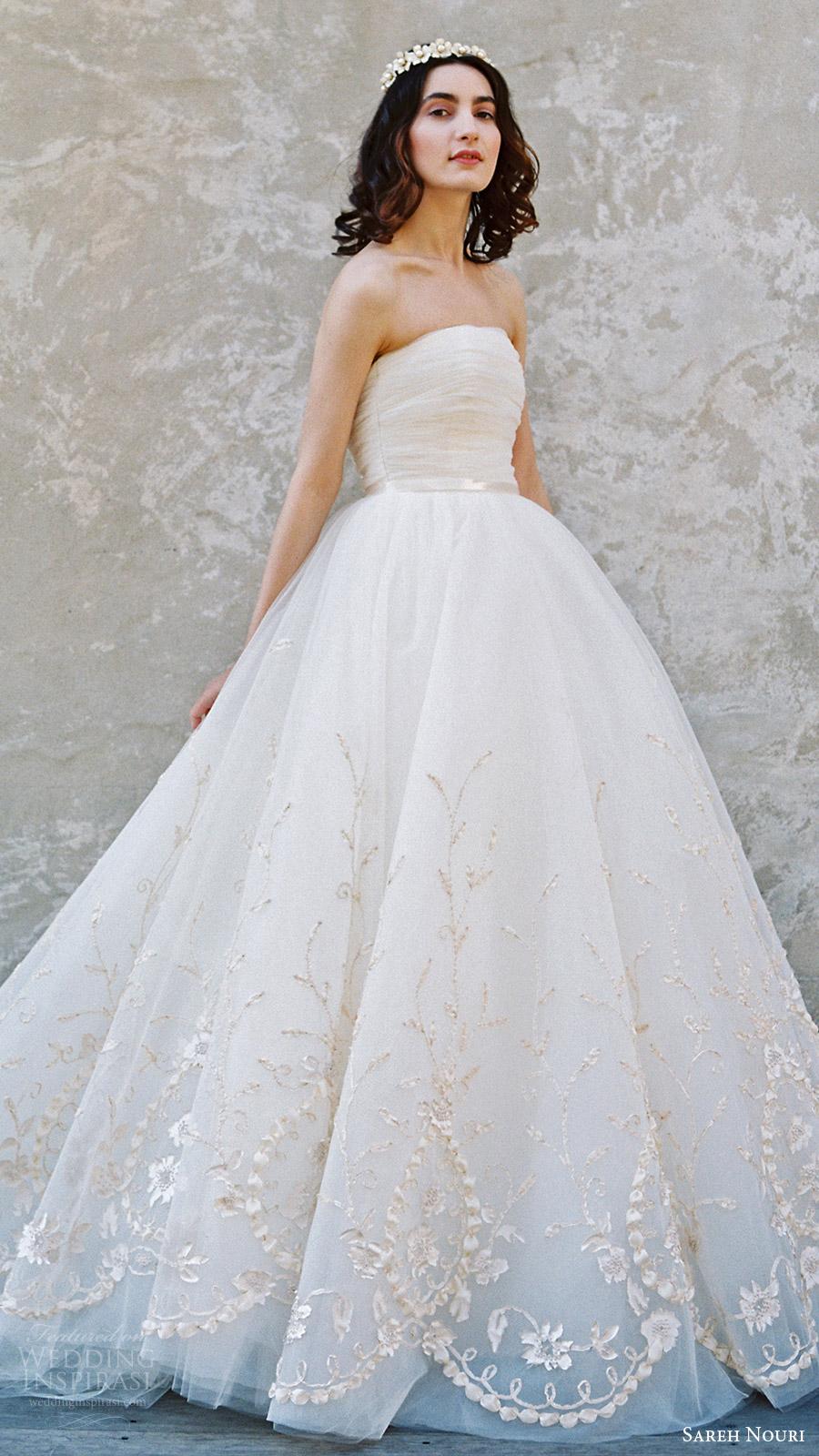 sareh nouri bridal spring 2017 strapless straightacross ball gown wedding dress (ivy) mv