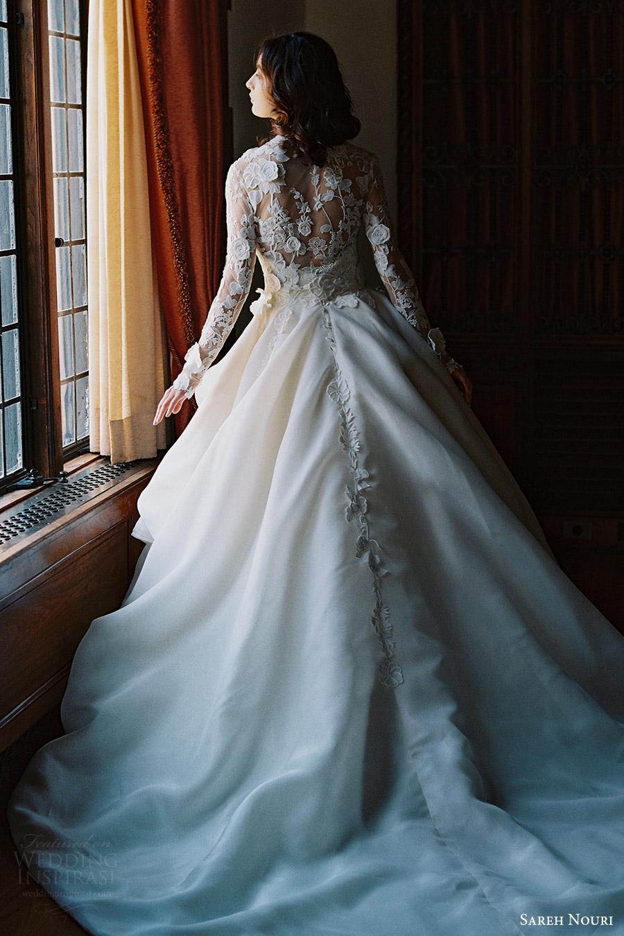 sareh nouri bridal spring 2017 strapless sweetheart ball gown wedding dress (dahlia) bv  train lace jacket