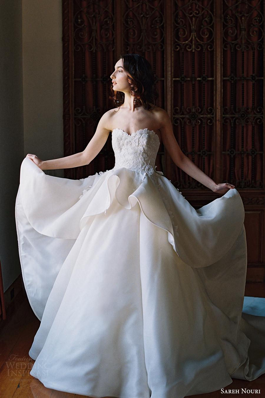 sareh nouri bridal spring 2017 strapless sweetheart ball gown wedding dress (dahlia) fv train