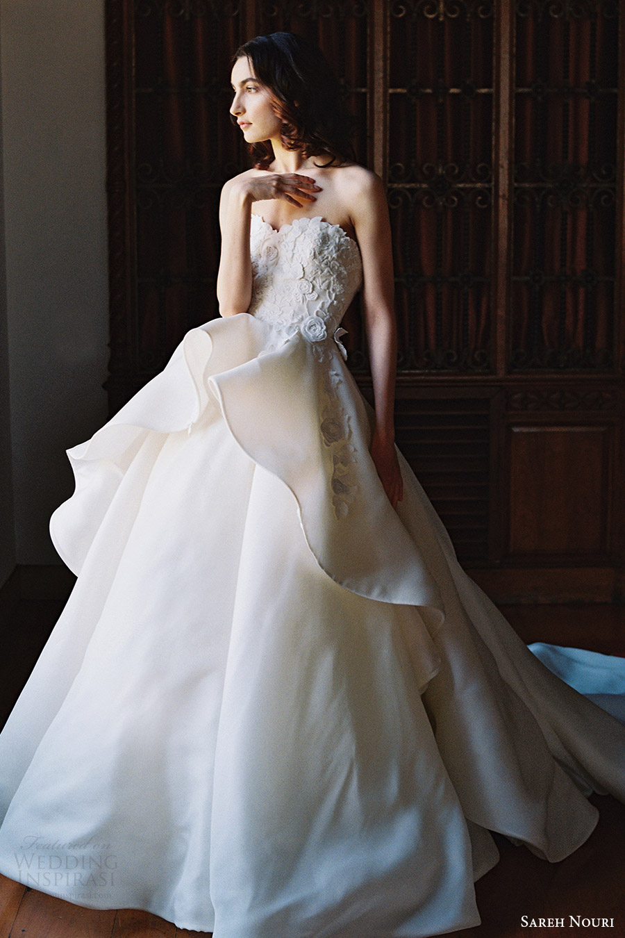 sareh nouri bridal spring 2017 strapless sweetheart ball gown wedding dress (dahlia) mv train