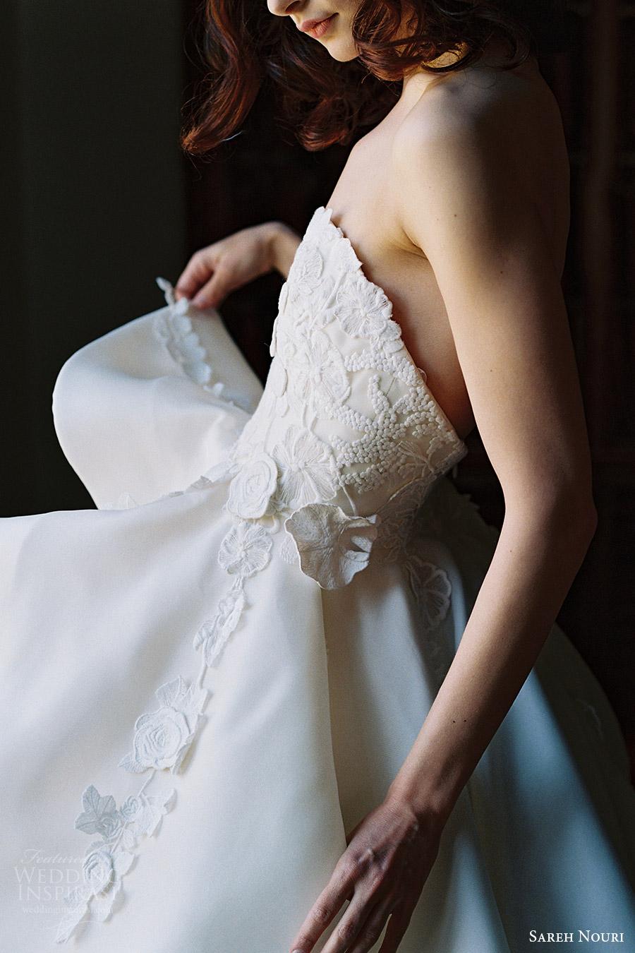 sareh nouri bridal spring 2017 strapless sweetheart ball gown wedding dress (dahlia) zfv embroidered bodice