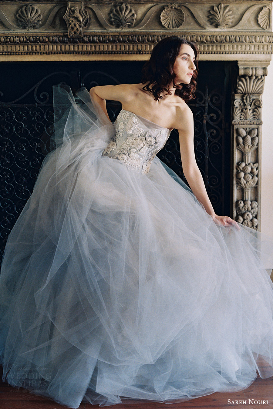 sareh nouri bridal spring 2017 strapless sweetheart ball gown wedding dress (iris) fv  gray color