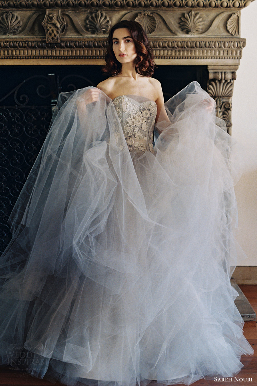 sareh nouri bridal spring 2017 strapless sweetheart ball gown wedding dress (iris) mv gray color