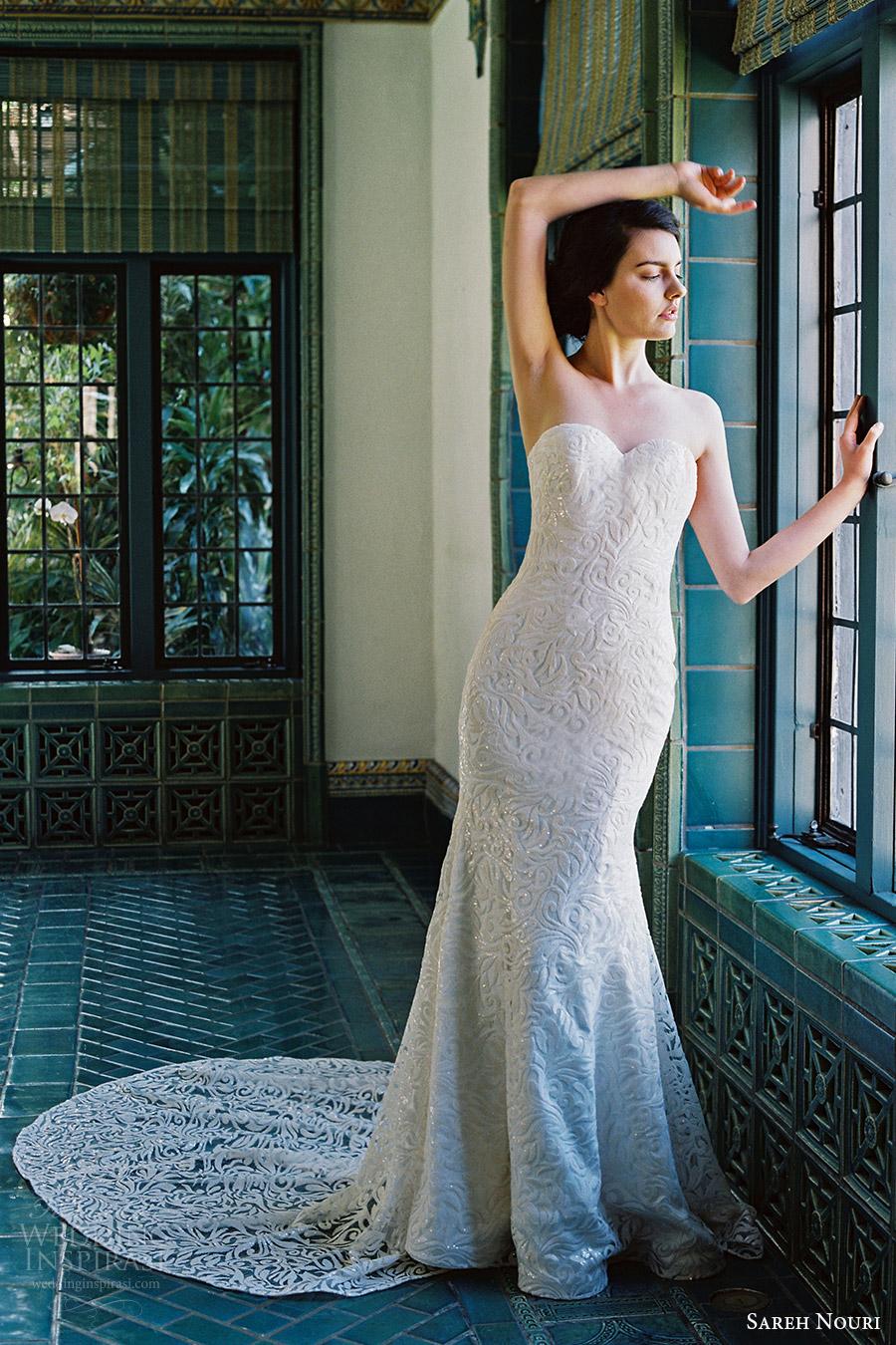 sareh nouri bridal spring 2017 strapless sweetheart trumpet lace wedding dress (marigold) mv train