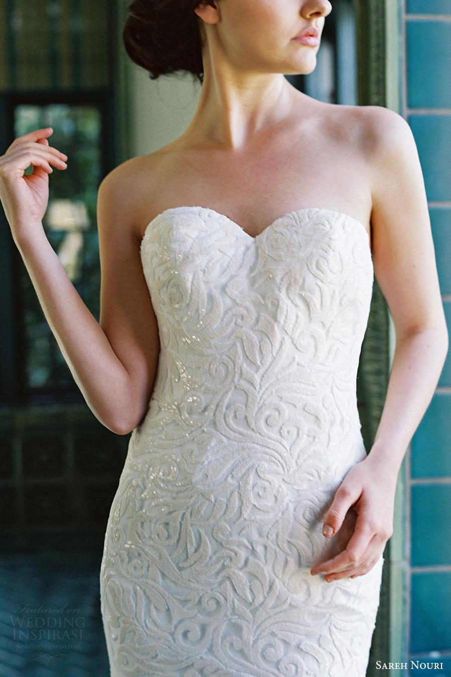 sareh nouri bridal spring 2017 strapless sweetheart trumpet lace wedding dress (marigold) zv bodice