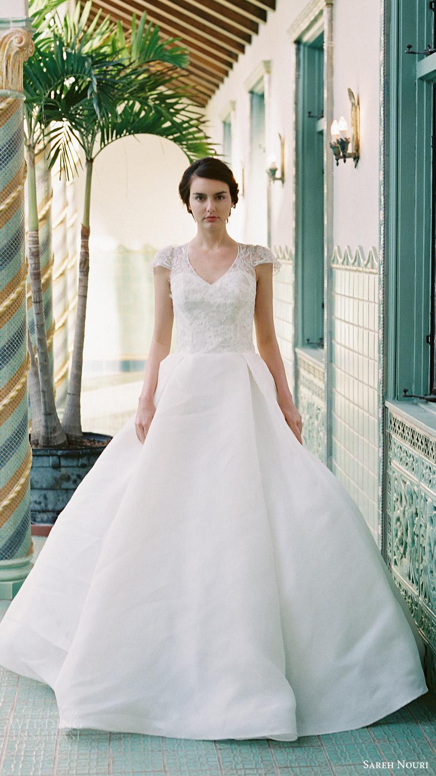 sareh nouri bridal spring 2017 vneck cap sleeves ball gown wedding dress (aster) mv