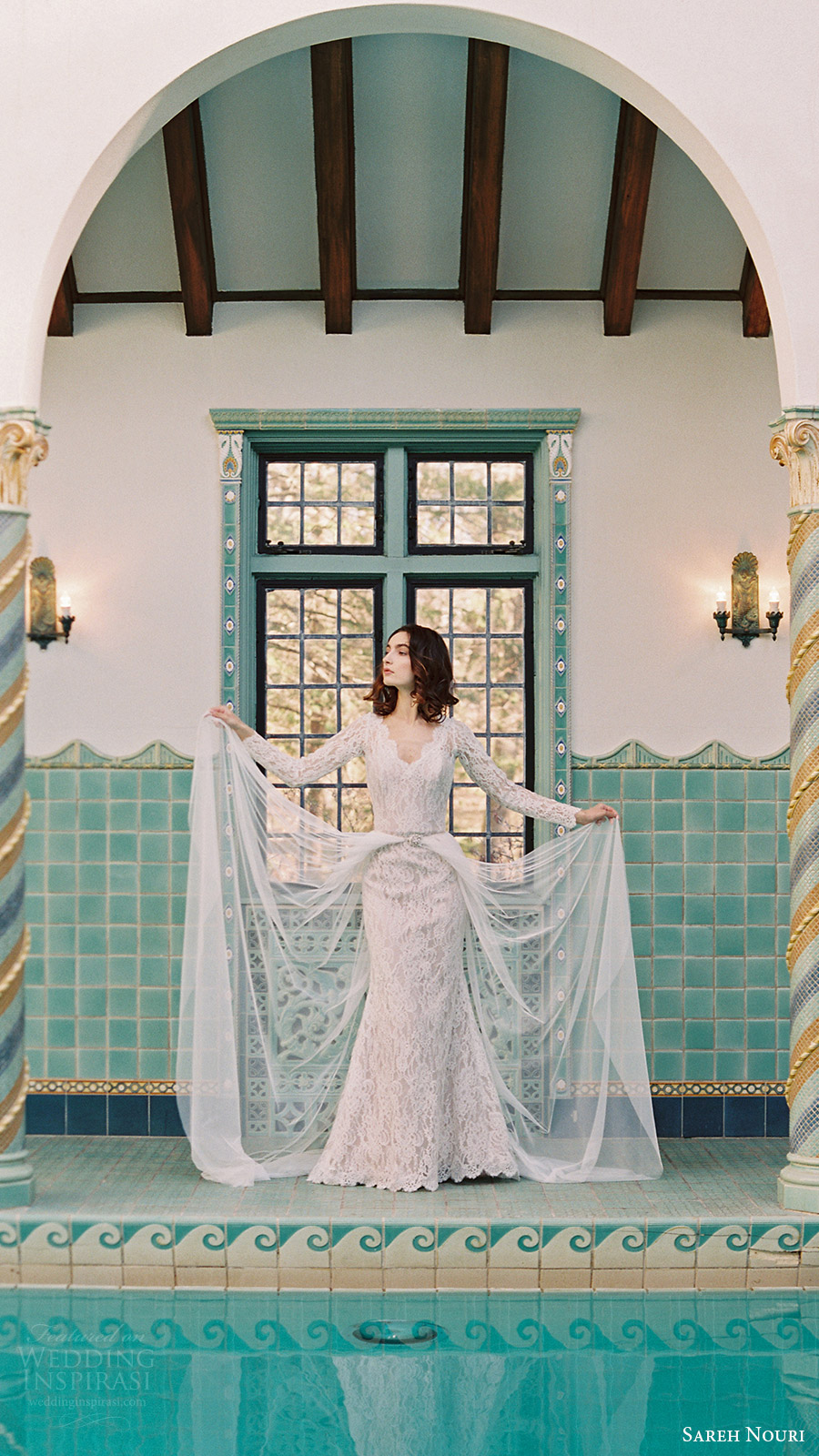 sareh nouri bridal spring 2017 vneck long sleeves lace trumpet wedding dress (morning glory) fv overskirt