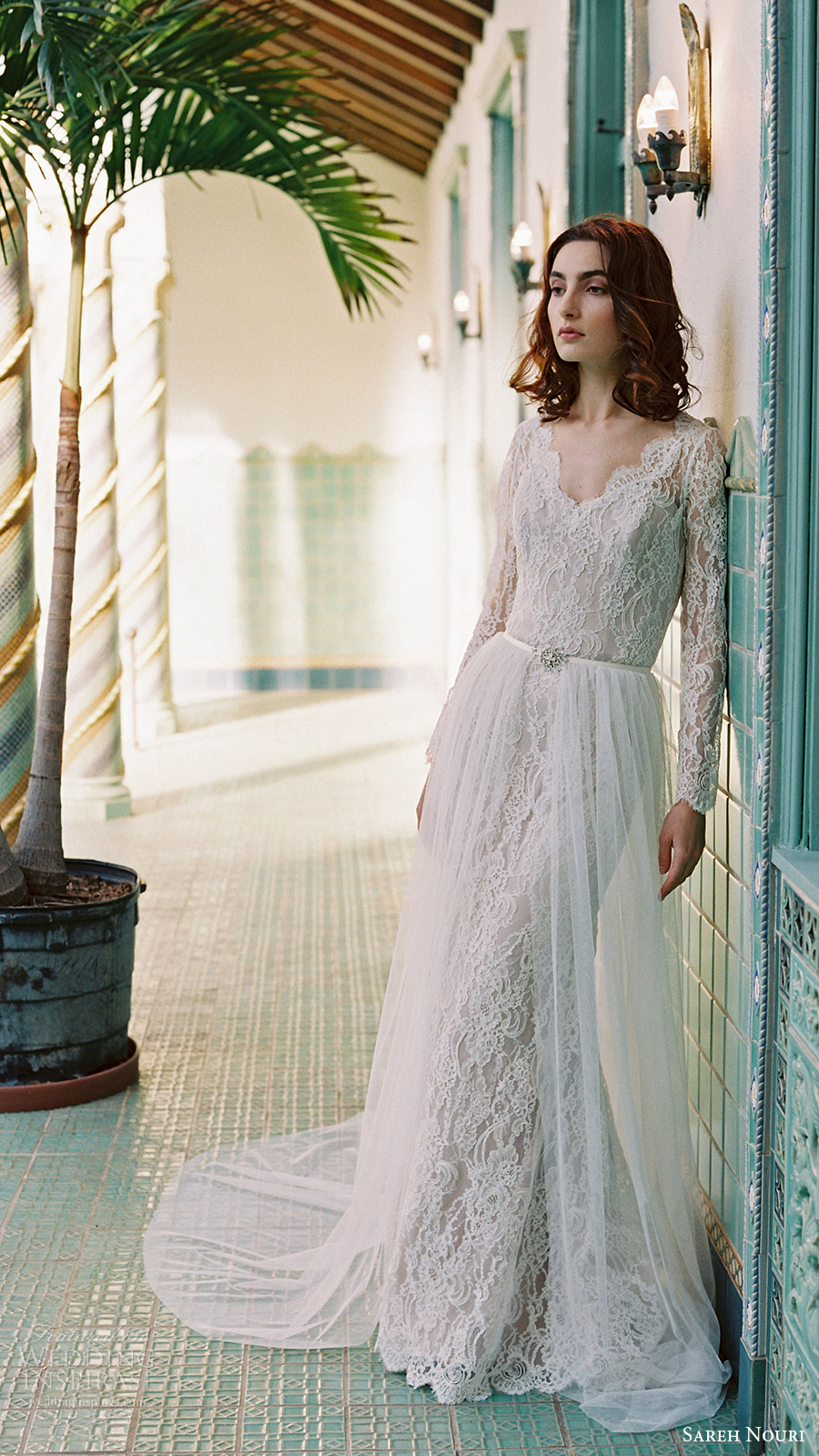 sareh nouri bridal spring 2017 vneck long sleeves lace trumpet wedding dress (morning glory) mv overskirt