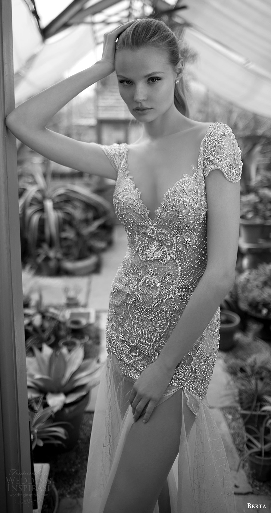 berta bridal fall 2016 cap sleeves sweetheart embellished bodice high low split skirt wedding dress (16 114) mv