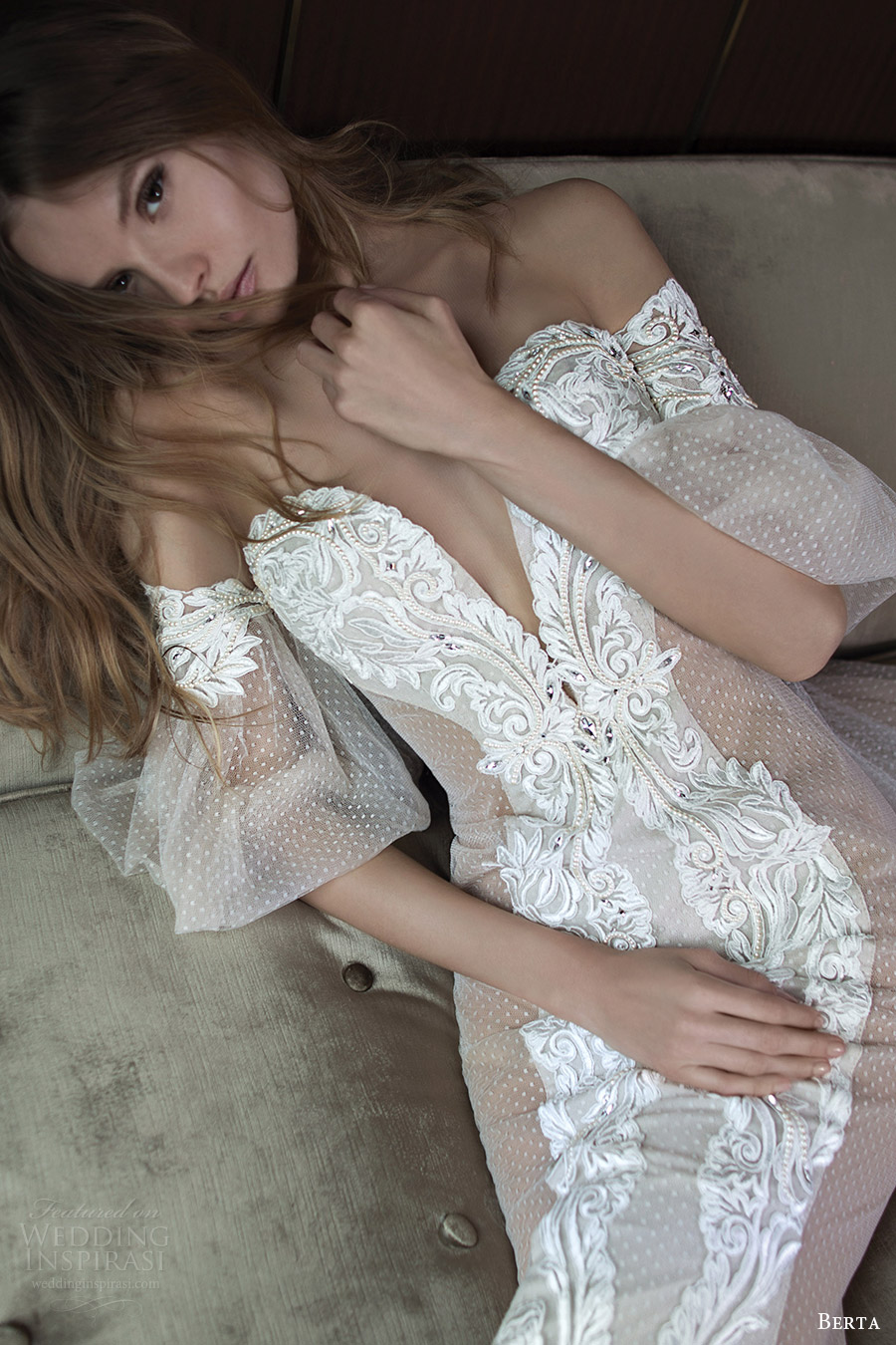 berta bridal fall 2016 illusion off shoulder deep sweetheart sheat wedding dress (16 111) mv