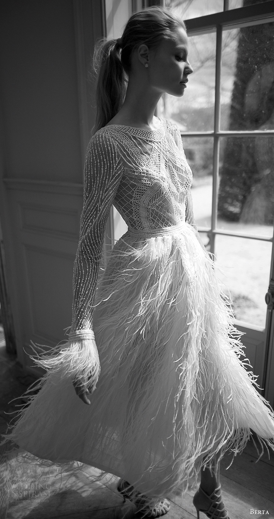 berta bridal fall 2016 long sleeves jewel neckline short wedding dress (16 120) zfv feather skirt