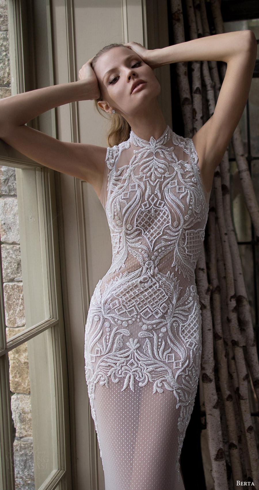 berta bridal fall 2016 sleeveless high neck trumpet wedding dress (16 116) zfv
