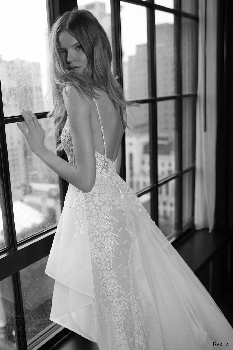 berta bridal fall 2016 sleeveless vneck sheath wedding dress (16 108) zbv overskirt train