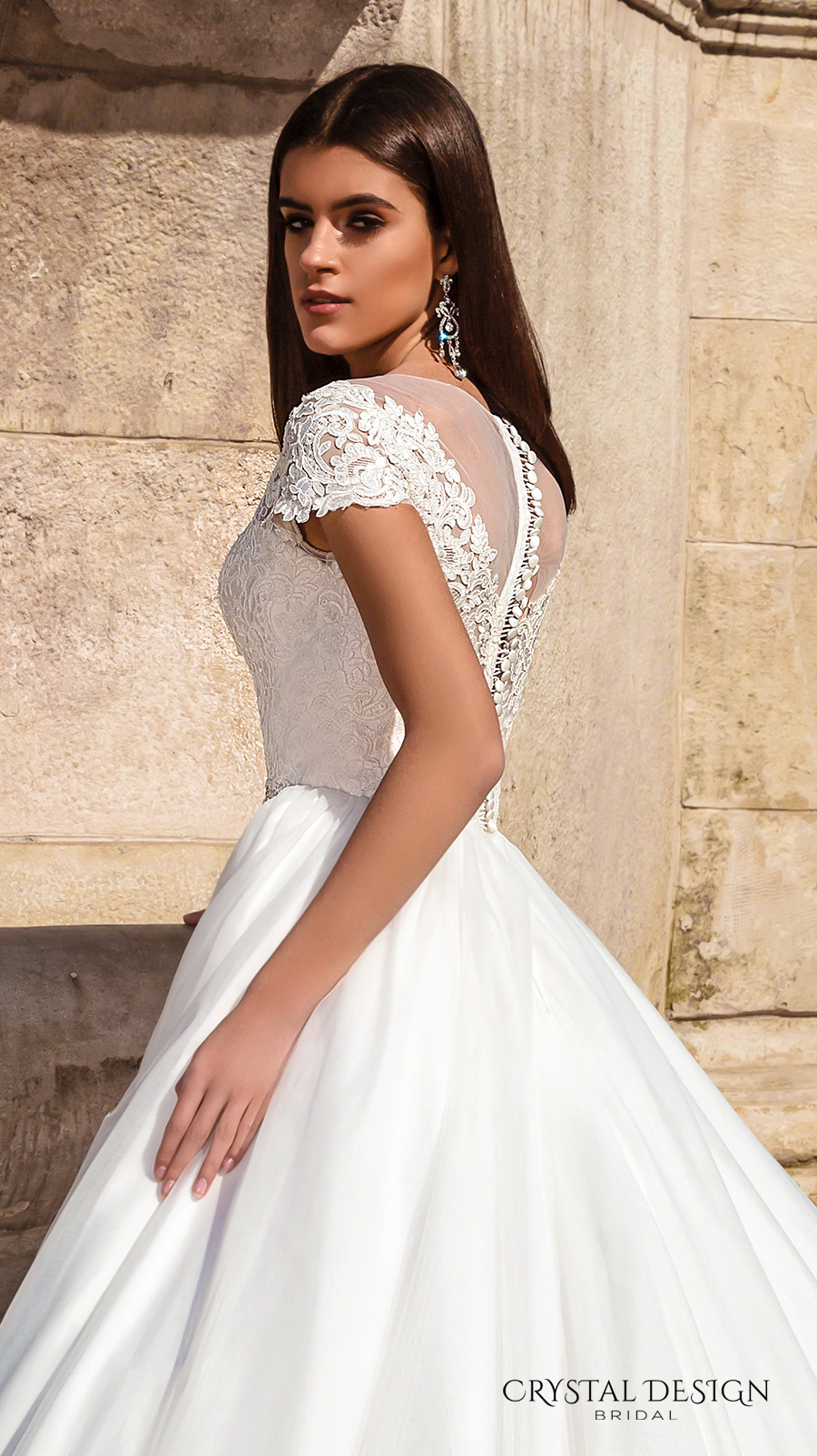 39709a521b crystal design bridal 2016 lace cap sleeves v neck heavily embellished  bodice pretty princess a line