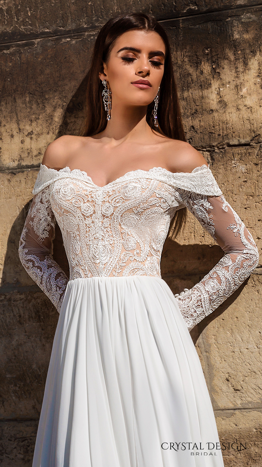 simple elegant wedding dress with off shoulder sleeves