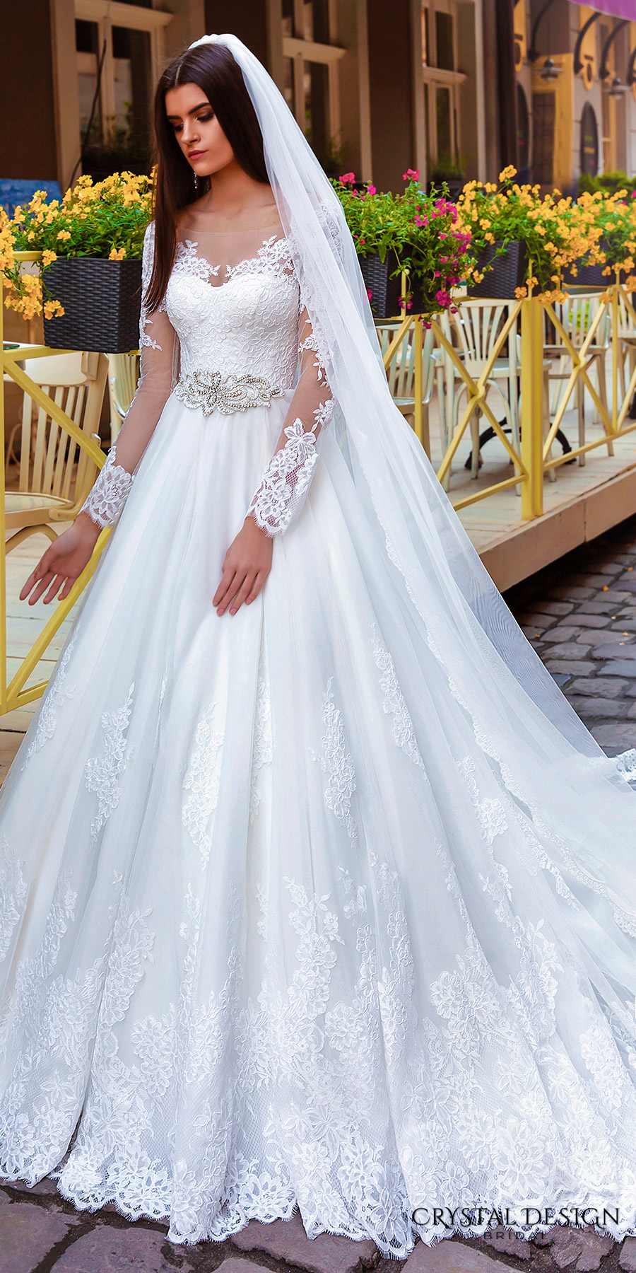 dc2818c558 crystal design bridal 2016 sheer long sleeves sweetheart neckline heavily  embellished bodice belt princess ball gown