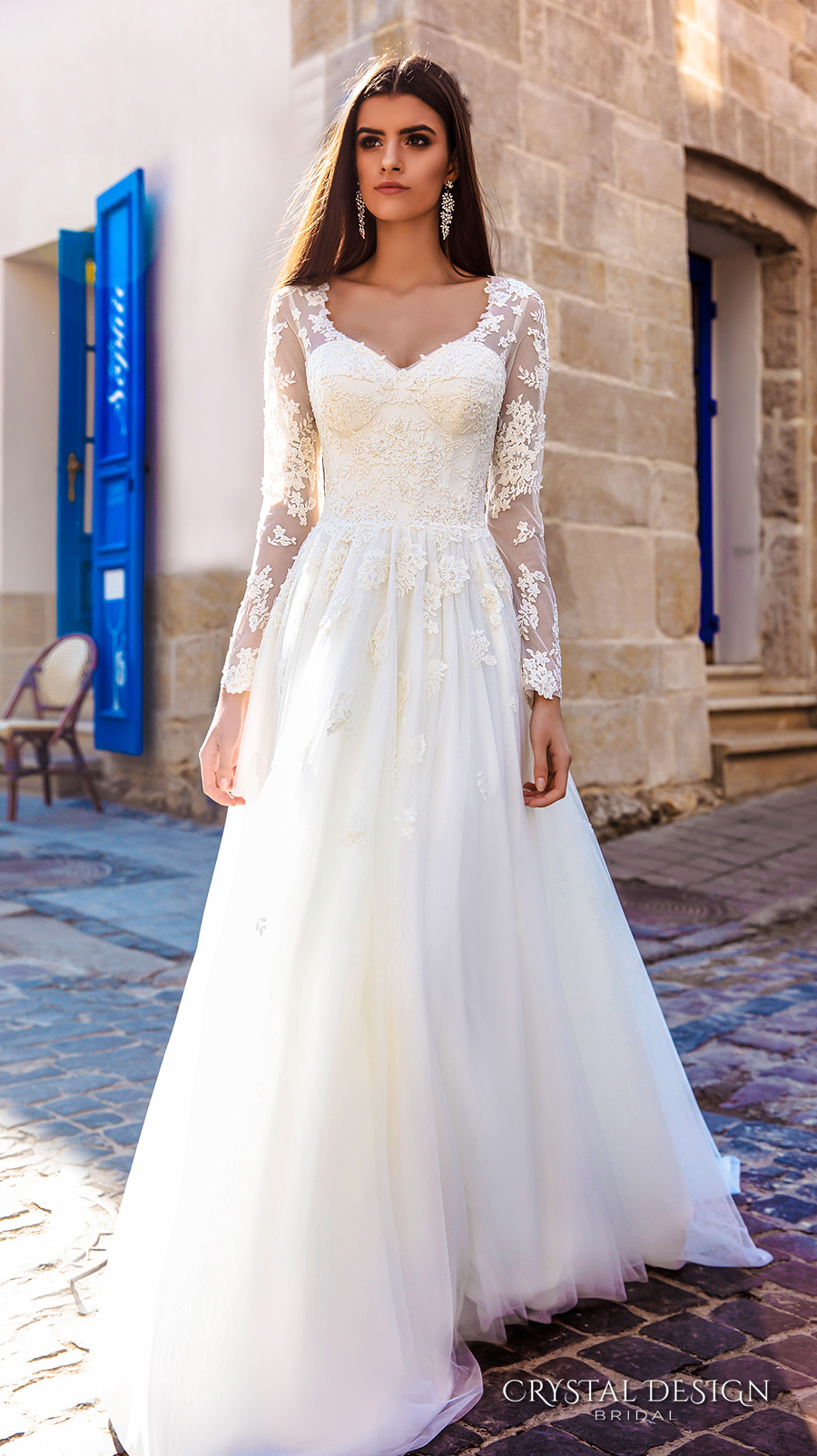 Crystal design 2016 wedding dresses wedding inspirasi for Long wedding dresses with sleeves